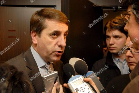 Fdf Chairman Olivier Maingain Talks to the Press After Leaving the Commission Ahead of the Vote on the Proposition to Split the Electoral District of Brussels at the Chamber Commission of Interior Affairs in Brussels Belgium on 07 November 2007 Belgium Brussels