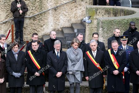 (l-r) Prime Minister Elio Di Rupo Liege Mayor Willy Demeyer Crown Prince Philippe of Belgium Princess Mathilde of Belgium and Liege Governor Michel Foret During the Silent Manifestation to Commemorate the Victims of Last Tuesday's Attack in Liege 20 December 2011 Nordine Amrani Killed on Tuesday 13 December 2011 4 People in a Shooting and Grenades Attack in Liege Some 120 Other People Were Injured Belgium Liege