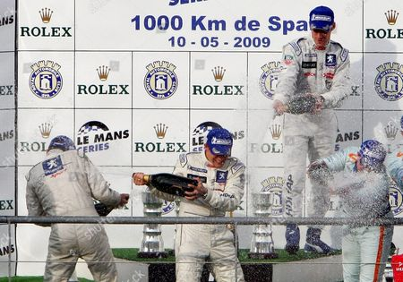 Winners of Peugeot Team Car 7 Drivers Nicolas Minassian Christian Klein and Simon Pagenaud Celebrate on the Podium of the 1000 Km of Spa at the Francorchamps Racing Circuit in Spa 10 May 2009 the 1000 Km Race in Spa is a Part of the Le Mans Series 2009 Belgium Spa