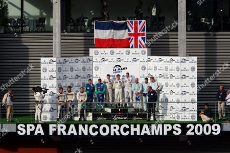 Stock Photo of Winners of Peugeot Team Car 7 Drivers Nicolas Minassian Christian Klein and Simon Pagenaud Second Placed on the Left Team Pescarolo Judd and Car Number 16 with Drivers Christophe Tinseau Et Jean-christophe Bouillon and Thid Placed on the Right Team Oreca Matmut and the Car Number 11 with Drivers Olivier Panis and Nicolas Lapierre Celebrate on the Podium of the 1000 Km of Spa at the Francorchamps Racing Circuit in Spa on Sunday 10 May 2009 the 1000 Km Race in Spa is a Part of the Le Mans Series 2009 Belgium Spa