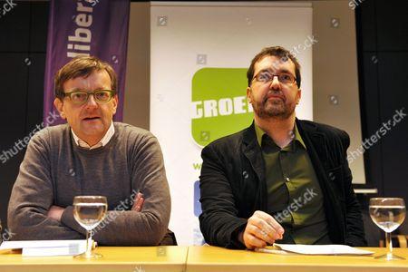 Slp Chairman Geert Lambert (l) and Groen! Chairman Wouter Van Besien (r) Announce at a Press Conference the Merge of Flemish Political Parties Slp (social Liberals) and Groen! (green) in Brussels Belgium 19 December 2009 Belgium Brussels
