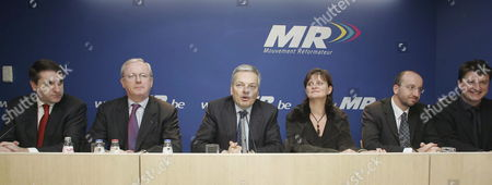 (l-r) Fdf Chairman Olivier Maingain Armand De Decker Mr Chairman Didier Reynders Sabine Laruelle Charles Michel and Olivier Chastel Pictured During a Press Conference of Mr Wednesday 19 December 2007 in Brussels Belgium Early Wednesday the Centrist Francophone Cdh Party Accepted Caretaker Prime Minister Guy Verhofstadt's Invitation to Join an Interim Government Including Flemish Christian Democrats and Liberals Plus Francophone Liberals and Socialists Belgium Brussels