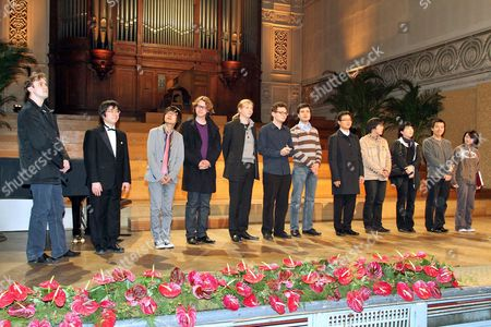 The Twelve Finalists From L-r Evgeni Bozhanov (bulgaria) Takashi Sato (japan) Kim Da Sol (korea) Hannes Minnaar (the Netherlands) Denis Kozhukhin (russia) Yury Favorin (russia) Andrejs Osokins (latvia) Yekwon Sunwoo (korea) Jong-hai Park (korea) Kim Kyu Yeon (korea) Kim Tae-hyung (korea) and Claire Huangci (usa); of the Queen Elisabeth International Music Contest Piano 2010 Onstage at the Brussels Royal Conservatoire in Brussels Belgium 15 May 2010 Belga Photo Michel Krakowski Belgium Brussels