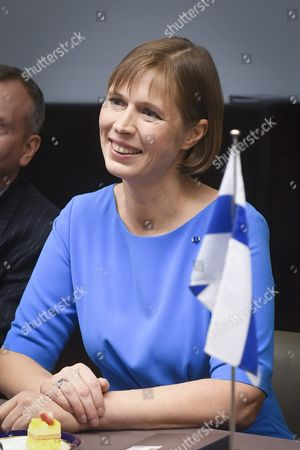 Kersti Kaljulaid the Newly Elected President of the Republic of Estonia in the Parliament where She Meets Speaker of Parliament Maria Lohela in the Parliament in Helsinki Finland 20 October 2016 Finland Helsinki