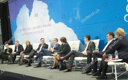 (l-r) Minister of Strategic Development and Nordic Cooperation Kristina Persson of Sweden Prime Ministers Sigmundur Davio Gunnlaugsson of Iceland Helle Thorning-schmidt of Denmark David Cameron of Britain Aexander Stubb of Finland Laimdota Straujuma of Latvia Taavi Roivas of Estonia Algirdas Butkevicius of Lithuania and Erna Solberg of Norway Attend the Northern Future Forum in Espoo Finland 07 November 2014 Finnish Prime Minister Alexander Stubb Has Invited the Prime Ministers of the Nordic Countries the Baltic States and the United Kingdom to Discuss Future Trends in Northern Europe Finland Espoo
