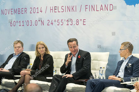 Icelandic Prime Minister Sigmundur Davio Gunnlaugsson Danish Prime Minister Helle Thorning-schmidt British Prime Minister David Cameron and Finnish Prime Minister Alexander Stubb Attend the Northern Future Forum in Espoo Finland 07 November 2014 Finnish Prime Minister Alexander Stubb Has Invited the Prime Ministers of the Nordic Countries the Baltic States and the United Kingdom to Discuss Future Trends in Northern Europe Finland Espoo