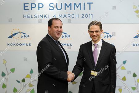 Austria's Finance Minister Josef Proell (l) is Welcomed by Finnish Finance Minister and Epp Deputy Chairman Jyrki Katainen (r) Prior to the Start of the European People's Party Epp in Helsinki Finland on 04 March 2011 the Epp Summit Gathering Leaders of European Conservative Parties Meets in Helsinki on 04 March to Discuss European Economy Issues Finland Helsinki