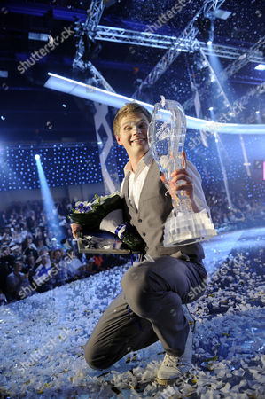 Paradise Oskar Celebrates on Stage at the Eurovision Song Contest Preliminary in Turku Finland 12 February 2011 Paradise Oskar was Chosen to Represent Finland at the Eurovision Song Contest in Duesseldorf 2011 Finland Turku
