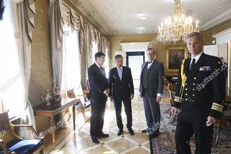 (l-r) Hungary's President Janos Ader President of Estonia Toomas Hendrik Ilves (r) and Finnish President Sauli Niinisto (c) Prepare For a News Conference in the Finnish President's Palace in Helsinki Finland 15 June 2016 Officer on Right is not Identified the Presidents Will Participate in the World Congress of the Finno-ugric Peoples in Lahti Finland Later on Wednesday 15 June 2016 Finland Helsinki