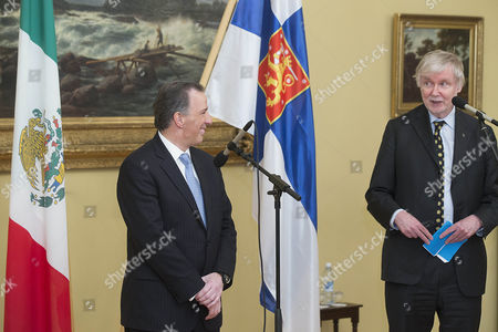 Jose Antonio Meade Kuribrena (l) Foreing Minister of Mexico Meeting Erkki Tuomioja (r) Foreing Minister of Finland in Helsinki Finland 20 February 2015 Finland Helsinki