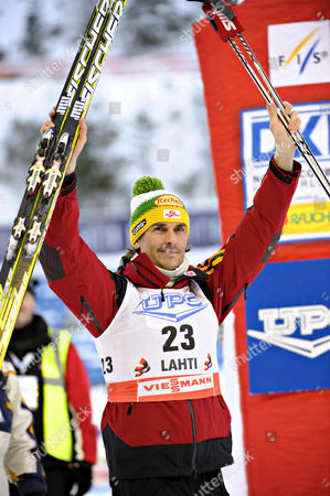 Felix Gottwald of Austria Celebrates After Placing Third in the Nordic Combined World Cup in Lahti Finland 12 March 2011 Finland Lahti