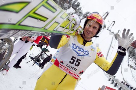 Stock Photo of Felix Gottwald of Austria Waves During the Hs 130 Ski Jumping Leg of the Nordic Combined World Cup in Lahti Finland 12 March 2011 Finland Lahti