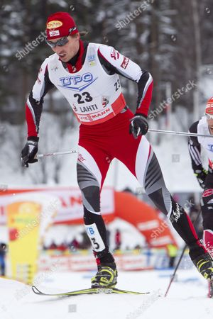 Felix Gottwald of Austria is on His Way to Place Third in the Fis Nordic Combined World Cup in Lahti Finland 12 March 2011 Finland Lahti