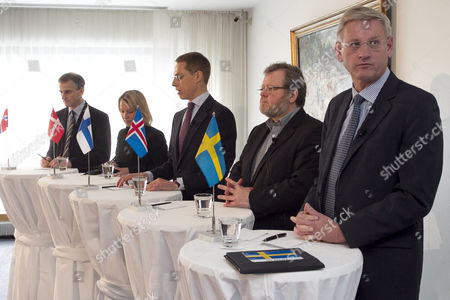(l-r) the Foreing Ministers of Norway Jonas Gahr Store Denmark Lene Espersen Finland Alexander Stubb Iceland Oessur Skapheoisssan and Sweden Garl Bild Meeting During the Nordic Declaration on Solidarity in Helsinki Finland 05 Aprill 2011 the Declaration is a Commitment to Cooperation in Fighting Terrorism and Similar Threats Finland Helsinki