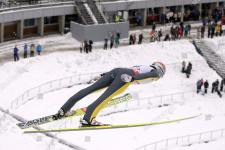 Felix Gottwald of Austria in Action During the Fis Nordic Combined Ski Jumping Event in Lahti Finland 12 March 2011 Finland Lahti