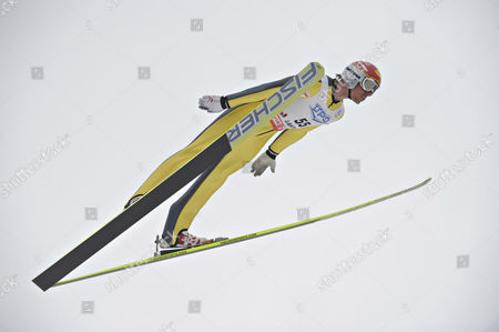 Stock Picture of Felix Gottwald of Austria in Action During the Fis Nordic Combined Ski Jumping Event in Lahti Finland 12 March 2011 Finland Lahti
