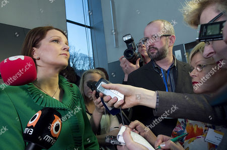 Mari Kiviniemi (l) Leader of the Finnish Centre Party is Interviewed at the Concert Hall in Helsinki on 17 April 2011 Leaders of Finnish Political Parties Were Gathered in the New Concert Hall to Follow Up the Count of Votes of the Parliamentary Elections the Expected Rise of Finlands True Finns Party was Confirmed in Early Vote Counting 17 April After Polls in the Parliamentary Election Closed at 1700 Gmt Initial Results Showed the True Finns in Third Place with 18 7 Per Cent of the Vote a Jump on the 4 1 Per Cent the Party Won in 2007 Finland Helsinki