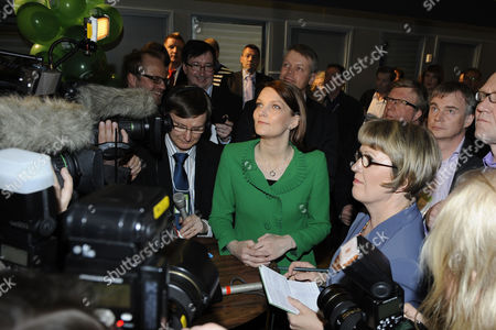 Mari Kiviniemi (c) Leader of the Finnish Centre Party is Surrounded by Reporters at the Concert Hall in Helsinki on 17 April 2011 Leaders of Finnish Political Parties Were Gathered in the New Concert Hall to Follow Up the Count of Votes of the Parliamentary Elections the Expected Rise of Finland's True Finns Party was Confirmed in Early Vote Counting 17 April After Polls in the Parliamentary Election Closed at 1700 Gmt Initial Results Showed the True Finns in Third Place with 18 7 Per Cent of the Vote a Jump on the 4 1 Per Cent the Party Won in 2007 Finland Helsinki