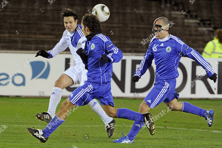 Jari Litmanen (l) of Finland Vies For the Ball with Damiano Vannucci (r) of San Marino During the Uefa Euro 2012 Qualifying Soccer Match in Helsinki Finland 17 November 2010 Finland Won 8-0 Finland Helsinki