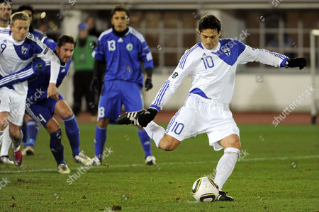 Jari Litmanen (r) of Finland Scores From the Penalty Spot Against San Marino During the Uefa Euro 2012 Qualifying Soccer Match in Helsinki Finland 17 November 2010 Finland Won 8-0 Finland Helsinki