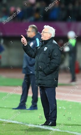 Stock Picture of Hans Backe Coach of Finland During Fifa World Cup 2018 Qualification Match Between Finland and Croatia at the Stadium in Tampere Finland 09 Oktober 2016 Finland Tampere