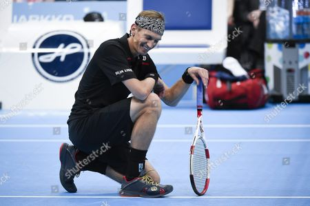 Stock Picture of Jarkko Nieminen of Finland Reacts During the Jarkko Nieminen Vs Roger Federer Final Night Event at the Hartwall Arena in Helsinki Finland 09 November 2015 Finnish All Time Tennis Ace Jarkko Nieminen Faces Roger Federer in His Career Ending Match Finland Helsinki