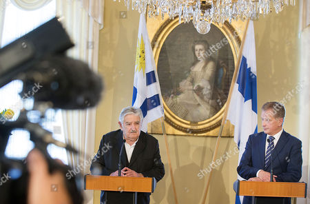 Stock Picture of Uruguay President Jose Mujica (l) and Finland President Sauli Niinisto (r)address a Press Conference During Their Meeting at the Goverment Banquei Hall in Helsinki Finland 17 September 2014 Finland Helsinki
