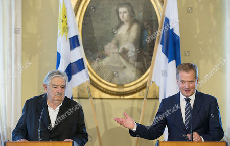Uruguay President Jose Mujica (l) and Finland President Sauli Niinisto (r)address a Press Conference During Their Meeting at the Goverment Banquei Hall in Helsinki Finland 17 September 2014 Finland Helsinki