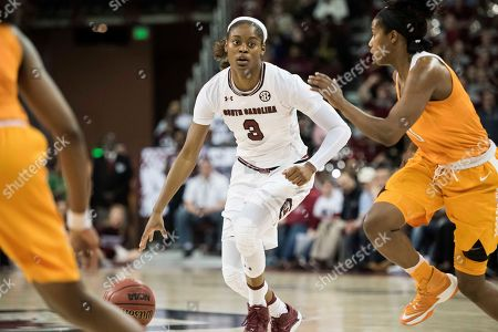 Kaela Davis, Jordan Reynolds South Carolina guard Kaela Davis (3) dribbles against Tennessee guard Jordan Reynolds (0) during the second half of an NCAA college basketball game, in Columbia, S.C. Tennessee defeated South Carolina 76-74
