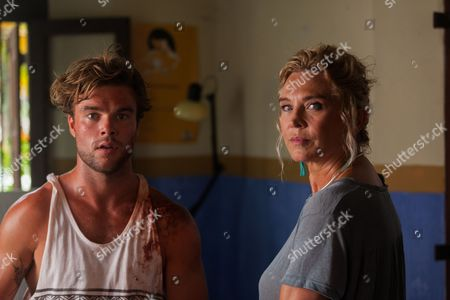 Stock Picture of Amanda Redman as Dr Lydia Fonseca and Danny McKay as Mitch Smart.