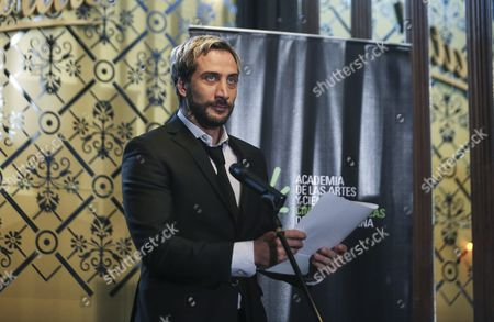 Argentinian Actor Luciano Caceres Reads the Announcement by Argentina's Film Arts and Science Academy of the Movie to Represent the Country at the Next Oscar Awards in Buenos Aires Argentina 30 September 2016 'El Ciudadano Ilustre (lit the Illustrious Citizen)' Directed by Gaston Duprat and Mariano Cohn was Presented by Argentina in the Foreign Language Best Movie Category For the Oscar Awards Argentina Buenos Aires