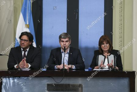 Argentine Cabinet Chief Marcos Pena (c) Speaks Accompanied by Security Minister Patricia Bullrich (r) and Minister of Justice and Human Rights German Garavano (l) During a Press Meeting on the Panama Papers Which Mention Argentine President Mauricio Macri in Buenos Aires Argentina 05 April 2016 Macri is One of the Allegedly Involved As Millions of Leaked Documents Published on 03 April 2016 Suggest That 140 Politicians and Officials From Around the Globe Including 72 Former and Current World Leaders Have Connections with Secret 'Offshore' Companies to Escape Tax Scrutiny in Their Countries the Leak Involves 11 5 Million Documents From One of the World's Largest Offshore Law Firms Mossack Fonseca Based in Panama the Investigation Dubbed 'The Panama Papers' was Undertaken and Headed by German Newspaper Sueddeutsche Zeitung and Washington-based International Consortium of Investigative Journalists (icij) with the Collaboration of Reporters From More Than 100 Media Outlets in 78 Countries Around the World Argentina Buenos Aires