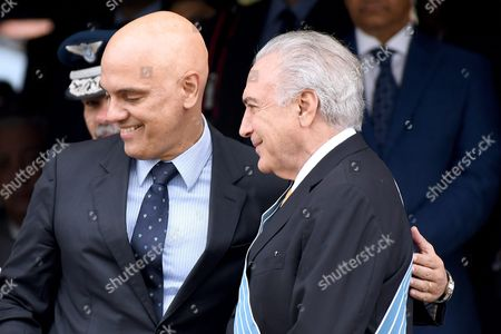 Brasilian President Michel Temer (r) is Seen with the Minister of Justice Alexandre De Moraes (l) During the Ceremony of Commemoration of the Day of the Aviator and the Air Force of Brazil at the Air Force Base in Brasilia Brazil 21 October 2016 Brazil Brasilia