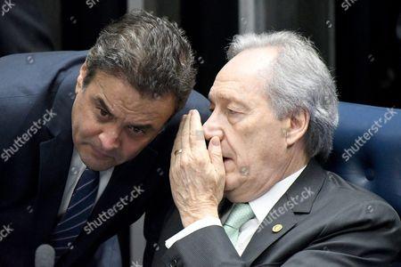 Brazilian Supreme Court President Ricardo Lewandowski (r) Speaks to Senator Aecio Neves (l) During the First Hearing of the Political Trial to Brazilian President Dilma Rousseff at the Senate Facilities in Brasilia Brazil 25 August 2016 Brazil Brasilia
