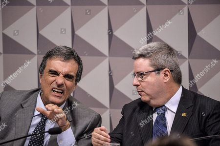 Brazilian Attorney General Jose Eduardo Cardozo (l) Speaks Next to Senator Antonio Anastasia (r) Rapporteur of the Senate Speical Committee Invesitgating the Impeachment Case Against Brazilian President Dilma Rousseff in Brasilia Brazil 05 May 2016 a Supreme Court Justice on 05 May Suspended the Mandate of Eduardo Cunha Brazil's Lower House Speaker and a Key Driving Force Behind Proceedings That Could Lead to an Impeachment Trial Against President Dilma Rousseff Justice Teori Zavascki Based His Ruling on the Numerous Allegations Against Cunha Stemming From a Massive Bribes-for-inflated Contracts Scandal Centered on Brazilian State-controlled Oil Company Petrobras Brazil Brasilia