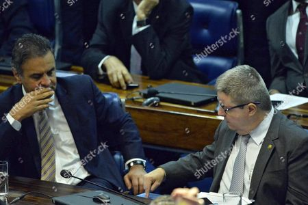 Brazilian Senate Members Aecio Neves (l) and Antonio Anastasia (r) During the Voting Session on the Impeachment of Rousseff in the Brazilian Senate in Brasilia Brazil 12 May 2016 the Brazilian Senate on Early 12 May 2016 Voted to Suspend Rousseff From Power As She Stands an Impeachment Trial Brazil's Lower House of Congress Voted on 17 April in Favor of Impeaching Rousseff For Allegedly Manipulating Budget Figures to Minimize the Deficit Rousseff Denies the Allegations Insisting the Impeachment Process is a Coup Against Her Epa/cadu Gomes Brazil Brasilia