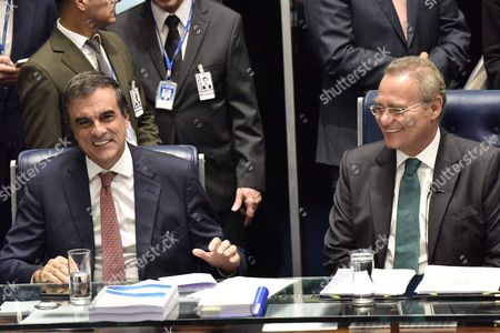 Brazilian Attorney General Jose Eduardo Cardozo (l) and Brazil's Senate President Renan Calheiros (r) During the Voting Session on the Impeachment of Rousseff in the Brazilian Senate in Brasilia Brazil 12 May 2016 the Brazilian Senate on Early 12 May 2016 Voted to Suspend Rousseff From Power As She Stands an Impeachment Trial Brazil's Lower House of Congress Voted on 17 April in Favor of Impeaching Rousseff For Allegedly Manipulating Budget Figures to Minimize the Deficit Rousseff Denies the Allegations Insisting the Impeachment Process is a Coup Against Her Brazil Brasilia