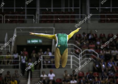 Dutch Gymnast Lieke Wevers Participates in a Qualifying Event of the Gymnastics Pre-olympics at the Olympic Park in Rio De Janeiro Brazil 18 April 2016 Brazil Rio De Janeiro