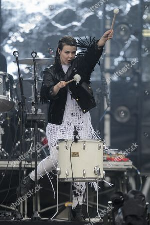 Stock Image of Nanna Brynd?s Hilmarsdottir of Icelandic Band of Monsters and Men Performs During the Lollapalooza Festival at Interlagos Racetrack in Sao Paulo Brazil 12 March 2016 Brazil Sao Paulo