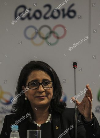 President of the Coordination Commission of the International Olympic Committee Nawal El Moutawakel Delivers a Presser in Rio De Janeiro Brazil 13 April 2016 During a Visit in Order to Supervise the Facilities and Arrangements For the 2016 Rio Olympic Games Brazil Rio De Janeiro