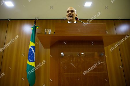 Brazilian Justice Minister Alexandre De Moraes Spakes During a Media Briefing in Brasilia Brazil 21 July 2016 Brazilian Authorities Arrested Ten People in an Anti-terrorist Operation in Different Parts of the Country Only 15 Days Before Olympic Games Said Moraes the Suspected People Were Suspected to Have Tried to Make Contact with Terror Militia Islamic State (is) and Were Planning Attacks on the Rio 2016 Olympics Brazil Brasilia