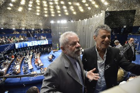 Former Brazilian President Luiz Inßcio Lula Da Silva (l) and the Poet Chico Buarque De Holanda (r) Are Seen As Brazilian Suspended President Dilma Rousseff Presents Her Final Arguments in the Impeachment Process to the Senate in Brasilia Brazil 29 August 2016 Rousseff was Suspended on 12 May After the Lower House of Congress Voted to Impeach Her on Charges That She Manipulated Budget Figures to Disguise the Size of the Deficit Brazil Brasilia