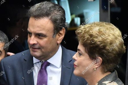 Suspended Brazilian President Dilma Rousseff Speaks with Senator Aecio Neves During Her Final Arguments in the Impeachment Process to the Senate in Brasilia Brazil 29 August 2016 Rousseff was Suspended on 12 May After the Lower House of Congress Voted to Impeach Her on Charges That She Manipulated Budget Figures to Disguise the Size of the Deficit Brazil Brasilia