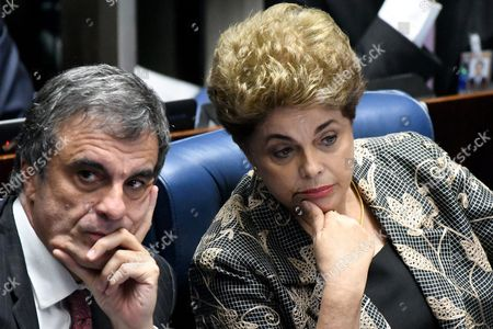 Brazilian Suspended President Dilma Rousseff (r) is Seen with Her Lawyer Jose Eduardo Cardozo (l) During the Presentation of Her Final Arguments in the Impeachment Process to the Senate in Brasilia Brazil 29 August 2016 Rousseff was Suspended on 12 May After the Lower House of Congress Voted to Impeach Her on Charges That She Manipulated Budget Figures to Disguise the Size of the Deficit Brazil Brasilia
