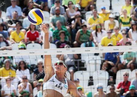 Georgina Klug of Argentina in Action During the Women's Preliminary Round Match Between Agatha/barbara of Brazil and Gally/klug of Argentina of the Rio 2016 Olympic Games at the Beach Volleyball Arena on Copacabana Beach in Rio De Janeiro Brazil 08 August 2016 Brazil Rio De Janeiro