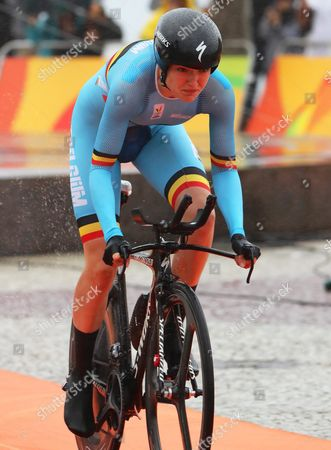 Ann-sophie Duyck of Belgium at the Start of the Women's Individual Time Trial of the Rio 2016 Olympic Games Road Cycling Events at Pontal in Rio De Janeiro Brazil 10 August 2016 Brazil Rio De Janeiro