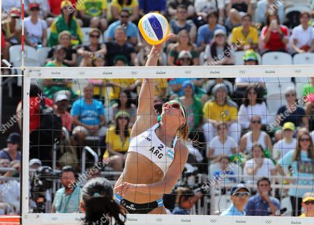 Georgina Kluge of Argentina in Action During the Women's Preliminary Round Match Between Agatha/barbara of Brazil and Gally/klug of Argentina of the Rio 2016 Olympic Games at the Beach Volleyball Arena on Copacabana Beach in Rio De Janeiro Brazil 08 August 2016 Brazil Rio De Janeiro