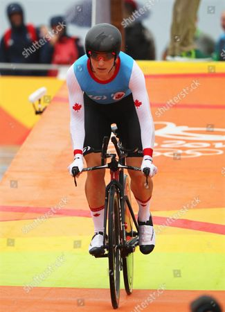 Stock Photo of Tara Whitten of Canada at the Start of the Women's Individual Time Trial of the Rio 2016 Olympic Games Road Cycling Events at Pontal in Rio De Janeiro Brazil 10 August 2016 Brazil Rio De Janeiro