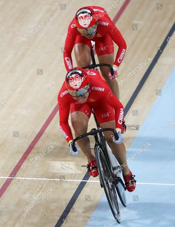 Jinjie Gong and Tianshi Zhong of China in Action During the Women's Team Sprint Qualification of the Rio 2016 Olympic Games Track Cycling Events at the Rio Olympic Velodrome in the Olympic Park in Rio De Janeiro Brazil 12 August 2016 Brazil Rio De Janeiro