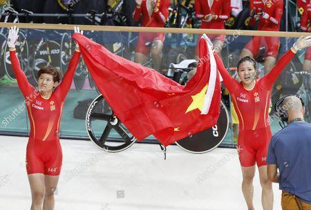 Jinjie Gong (r) and Tianshi Zhong of China Celebrate After Winning the Women's Team Sprint Final of the Rio 2016 Olympic Games Track Cycling Events at the Rio Olympic Velodrome in the Olympic Park in Rio De Janeiro Brazil 12 August 2016 Brazil Rio De Janeiro